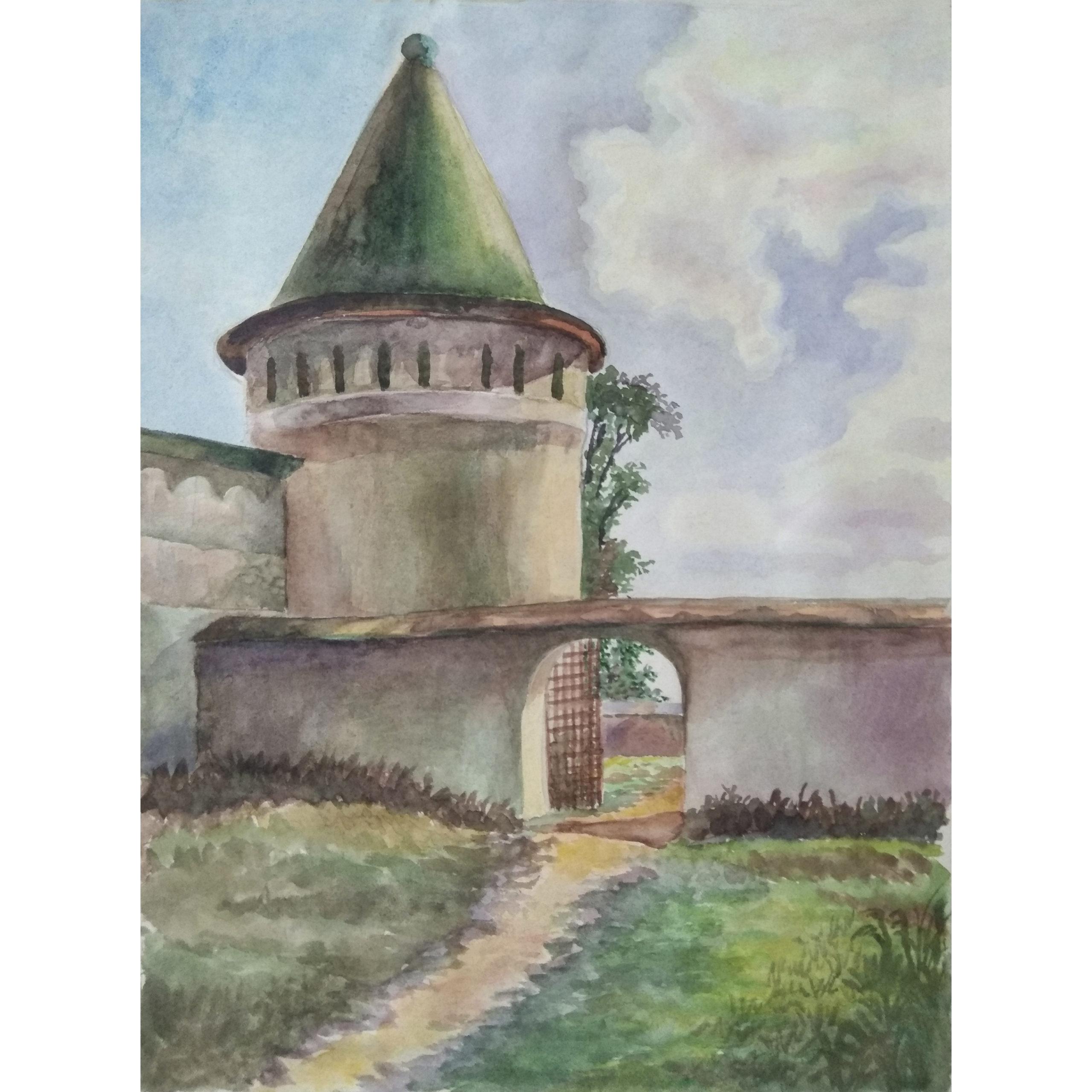 Древние стены акварель