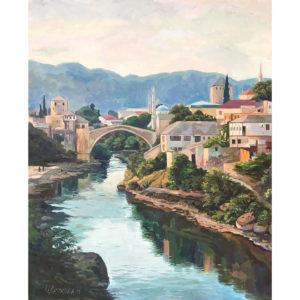 Bridge over the Neretva. Evening.